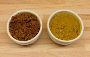 Rote und gelbe Currypasten